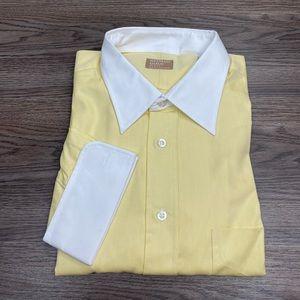 Gitman Bros. Yellow White Collar French Cuff Shirt